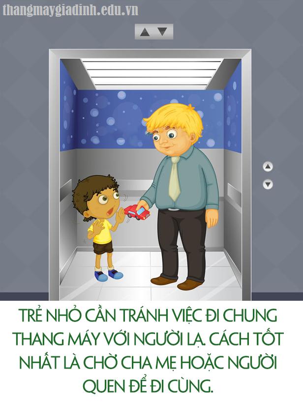 Dạy trẻ em khi sử dụng thang máy cùng người lạ mặt